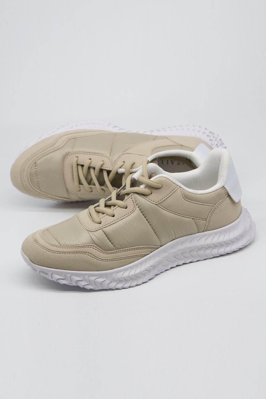Deri Parçalı Spor Ayakkabı (Bej)