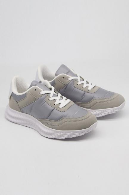 Deri Parçalı Spor Ayakkabı (Gri) - Thumbnail