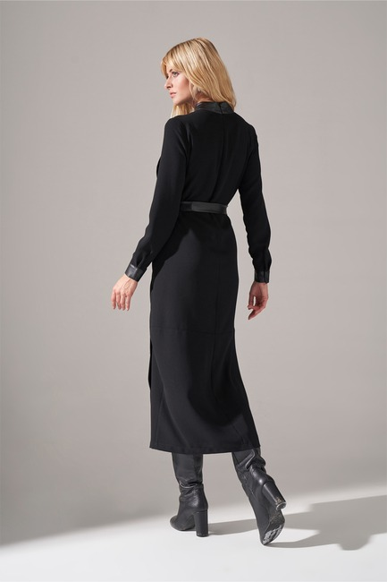 Deri Şeritli Krep Elbise (Siyah) - Thumbnail