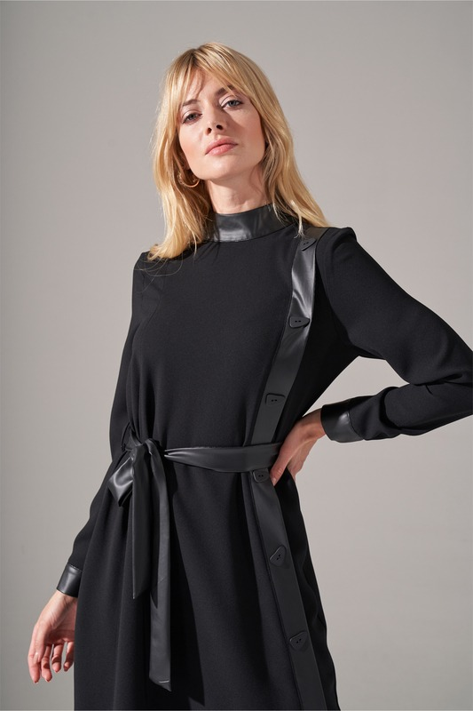 Deri Şeritli Krep Elbise (Siyah)
