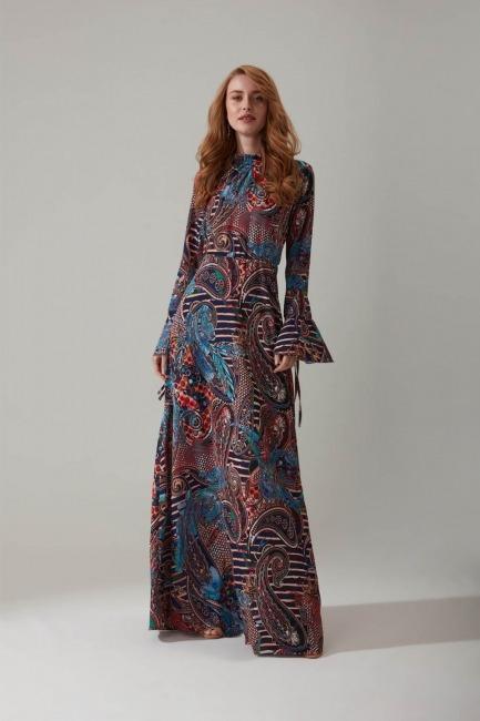 Mizalle - Şal Desenli Uzun Elbise