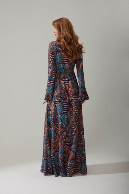 Şal Desenli Uzun Elbise - Thumbnail