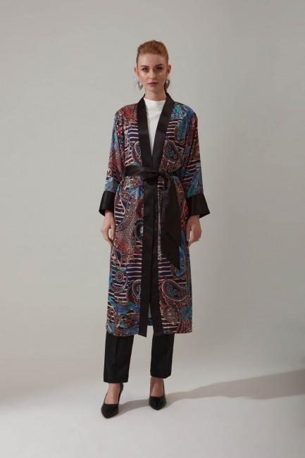 Mizalle - Şal Desenli Kimono