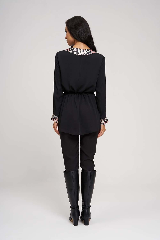 Desen Garnili Kimono Siyah Tunik