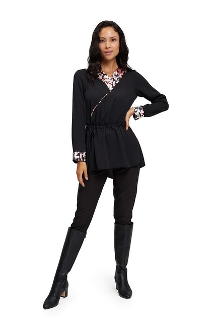MIZALLE - Patterned Garnished Kimono Tunic (Black) (1)