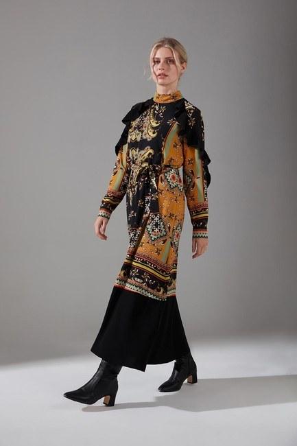 Mizalle - Desen Parçalı Fırfırlı Elbise