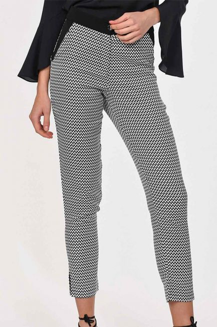 Desenli Dar Paça Pantolon (Siyah/Beyaz) - Thumbnail