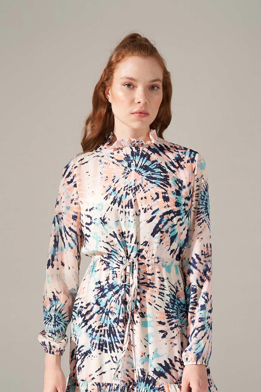 Desenli Eteği Fırfırlı Elbise
