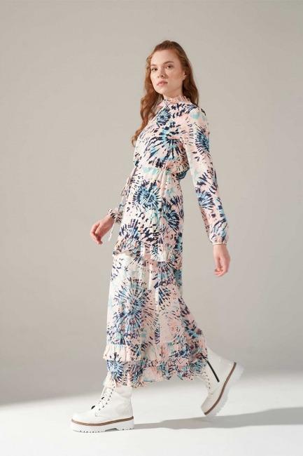 Desenli Eteği Fırfırlı Elbise - Thumbnail