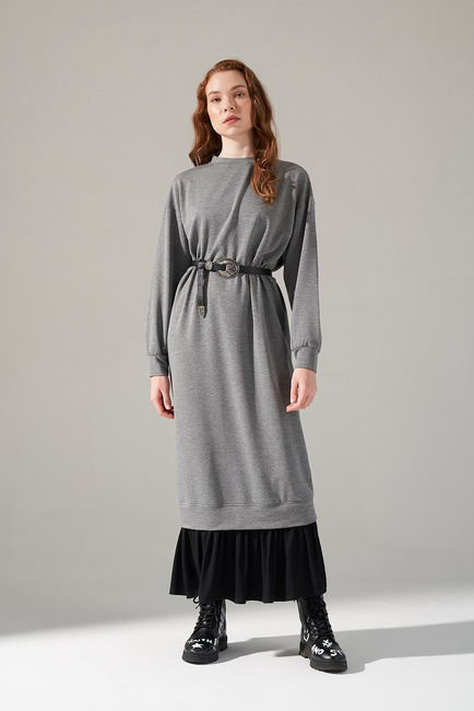 Mizalle - Desenli Etek Garnili Elbise (Gri)