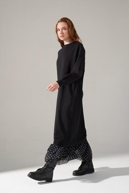 Desenli Etek Garnili Elbise (Siyah) - Thumbnail