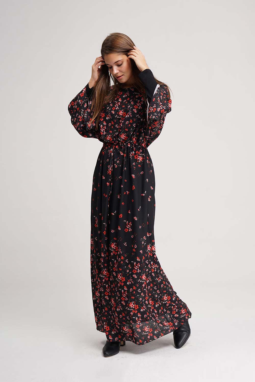 Desenli Geniş Kol Siyah Elbise