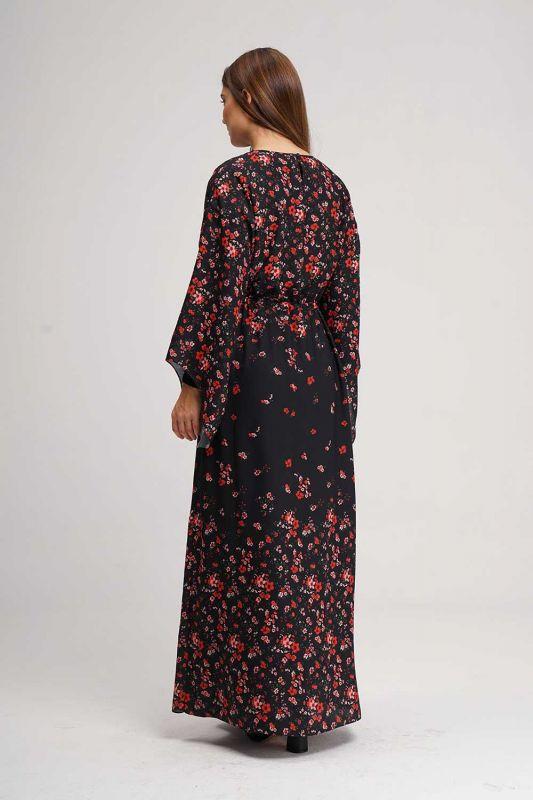 Desenli Geniş Kol Elbise (Siyah)