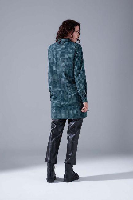 Desenli Gömlek Tunik (Yeşil) - Thumbnail