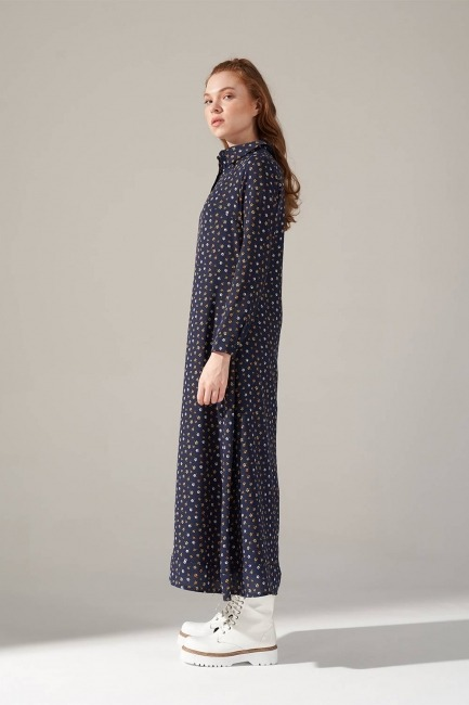 Desenli Gömlek Yaka Elbise (Lacivert) - Thumbnail