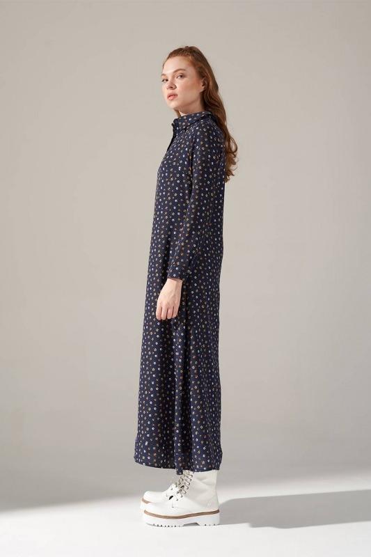 Desenli Gömlek Yaka Elbise (Lacivert)