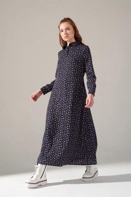 Mizalle - Desenli Gömlek Yaka Elbise (Lacivert)