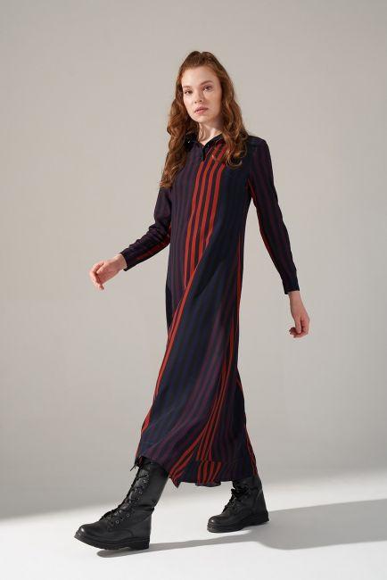 Mizalle - Desenli Gömlek Yaka Elbise (Mor)