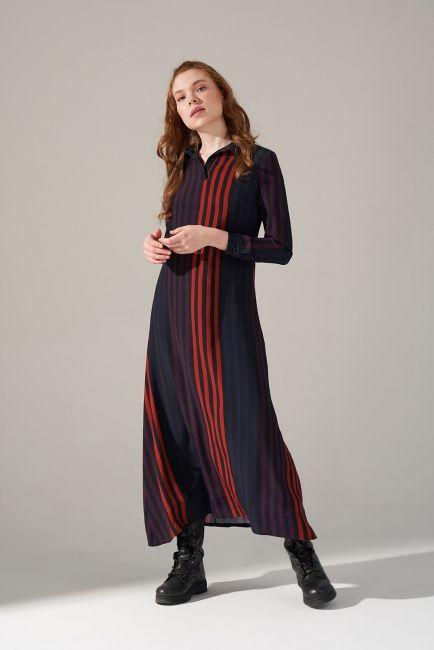 Desenli Gömlek Yaka Elbise (Mor) - Thumbnail