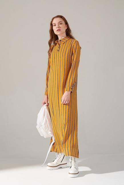 Mizalle - Desenli Gömlek Yaka Elbise (Safran)