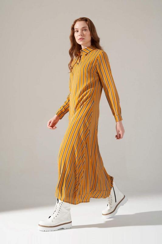 Desenli Gömlek Yaka Elbise (Safran)