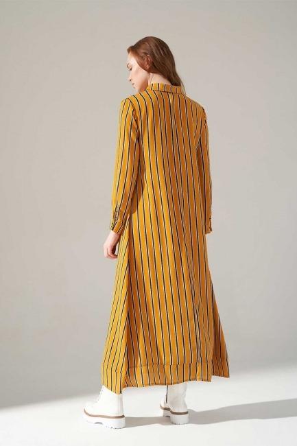 Desenli Gömlek Yaka Elbise (Safran) - Thumbnail