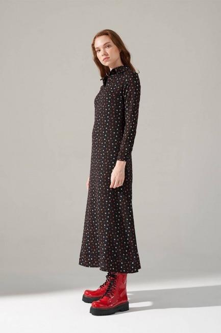 Mizalle - Desenli Gömlek Yaka Elbise (Siyah)