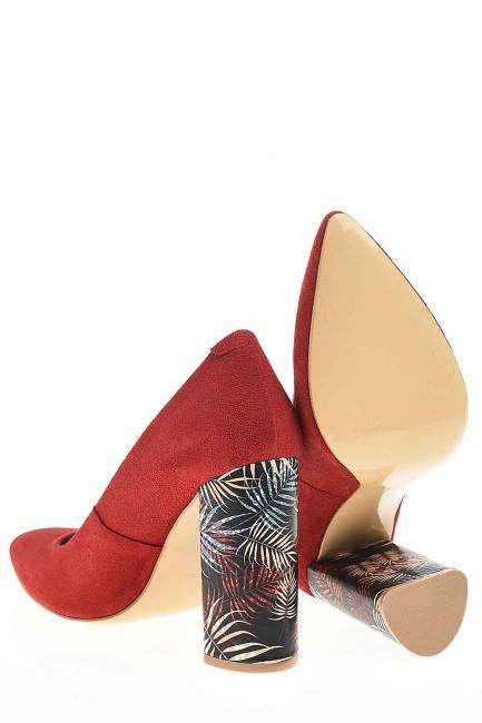 Desenli Kalın Topuk Deri Ayakkabı (Nar Çiçeği) - Thumbnail