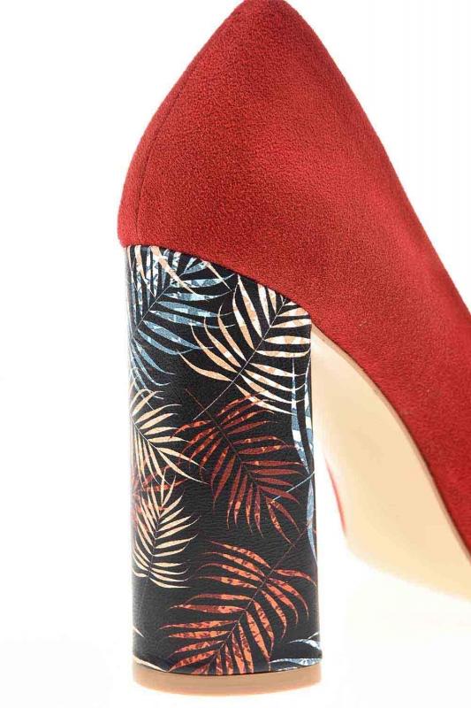 Desenli Kalın Topuk Deri Ayakkabı (Nar Çiçeği)