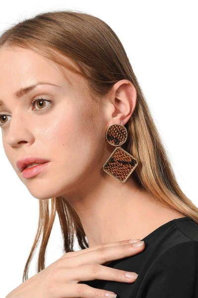 Patterned Square Earrings (Brown) - Thumbnail