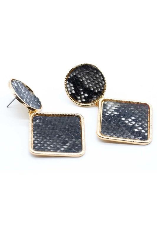 Patterned Square Earrings (Black)