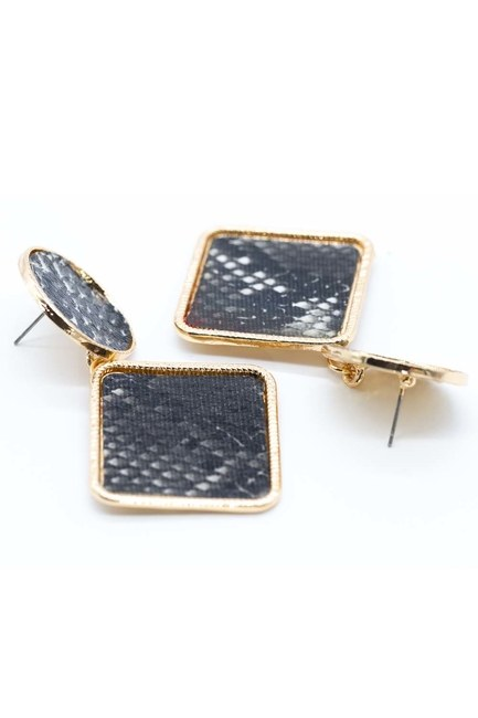MIZALLE - Patterned Square Earrings (Black) (1)