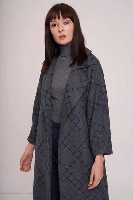 MIZALLE - معطف ختم منقوش (النيلي) (1)