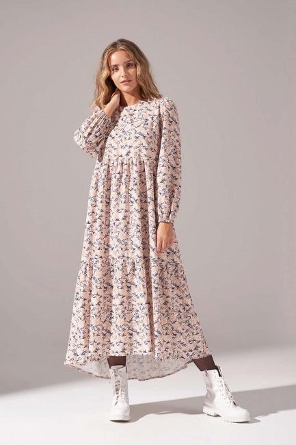 Mizalle - Desenli Kesikli Elbise (Bej)