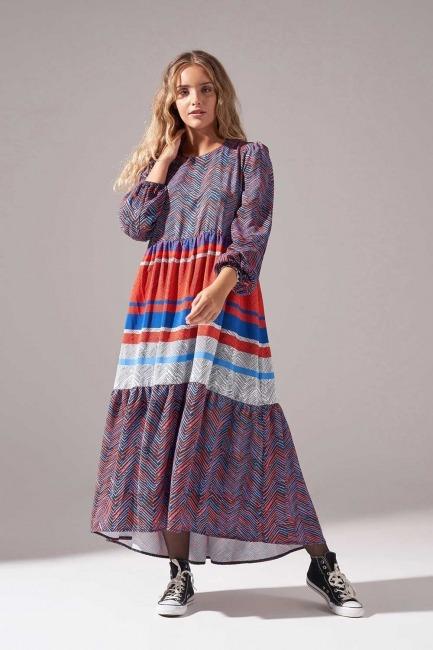 Mizalle - Desenli Kesikli Elbise (Lacivert)