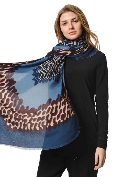 MIZALLE Patterned Luxury Thin Shawl (Indigo)
