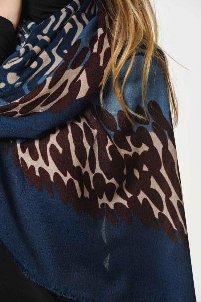 Patterned Luxury Thin Shawl (Indigo) - Thumbnail