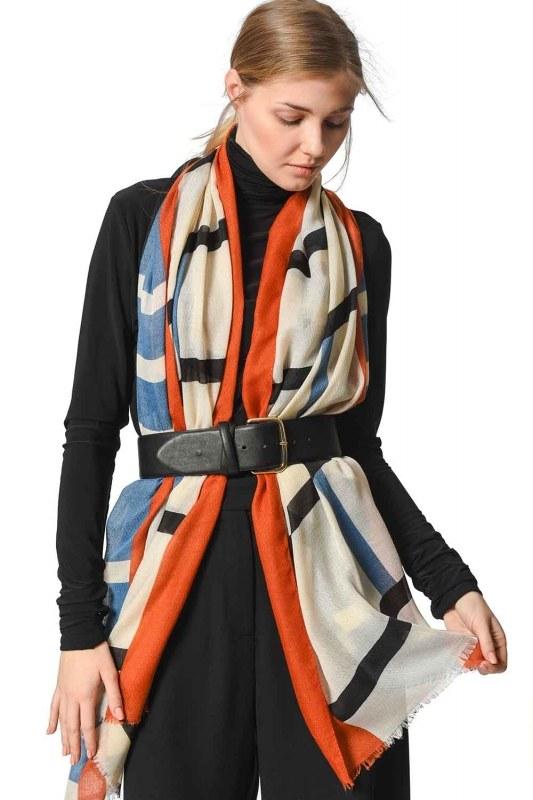 Patterned Luxurious Thin Shawl (Blue)