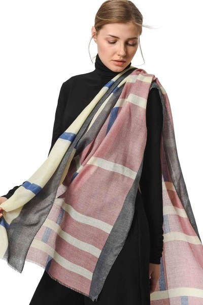 MIZALLE Patterned Luxurious Thin Shawl (Pink)