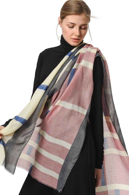 Patterned Luxurious Thin Shawl (Pink)