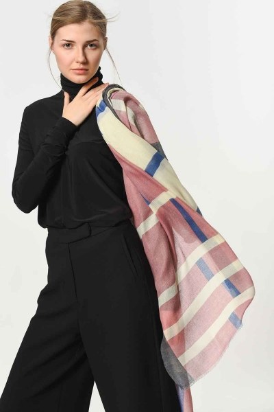 MIZALLE - Patterned Luxurious Thin Shawl (Pink) (1)