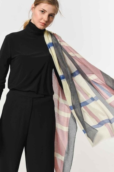 Patterned Luxurious Thin Shawl (Pink) - Thumbnail