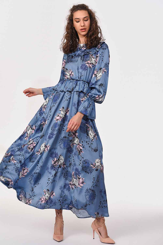 MIZALLE Desenli Maksi Saten Elbise (Mavi) (1)