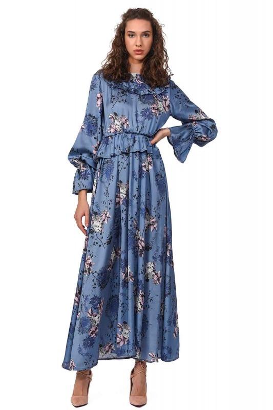 Desenli Maksi Saten Elbise (Mavi)