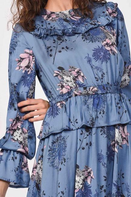 Patterned Maxi Satin Dress (Blue) - Thumbnail