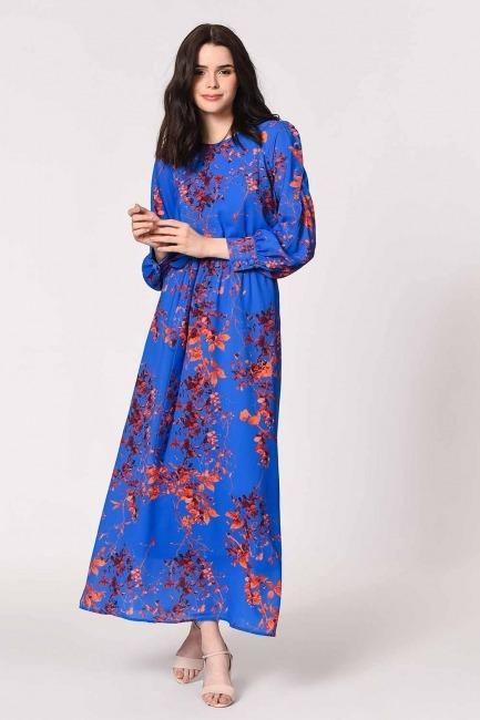 MIZALLE - Desenli Omuz Düğmeli Elbise (Saks) (1)