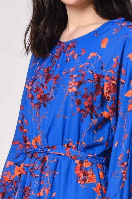Desenli Omuz Düğmeli Elbise (Saks) - Thumbnail