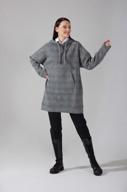 Mizalle - Desenli Örme Sweatshirt (Gri)