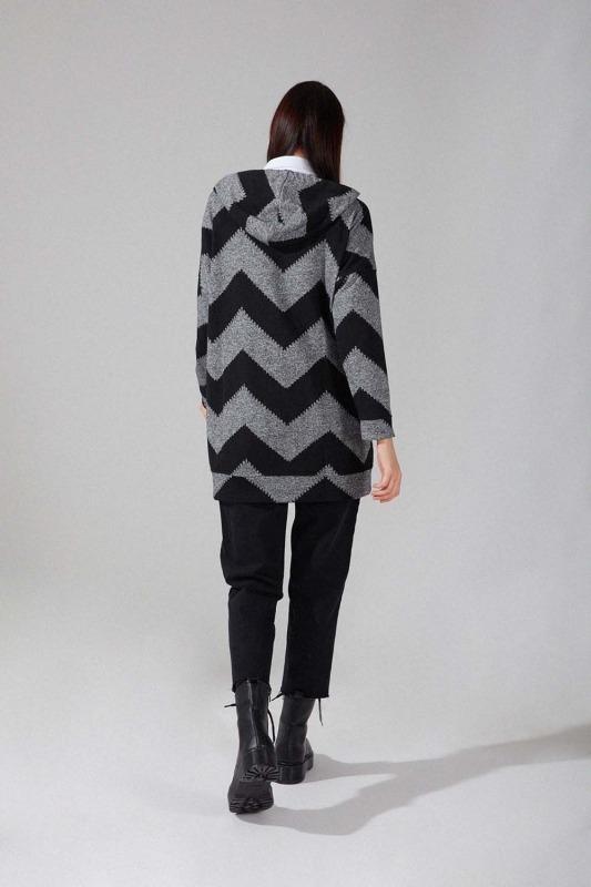 Desenli Örme Sweatshirt (Siyah/Gri)