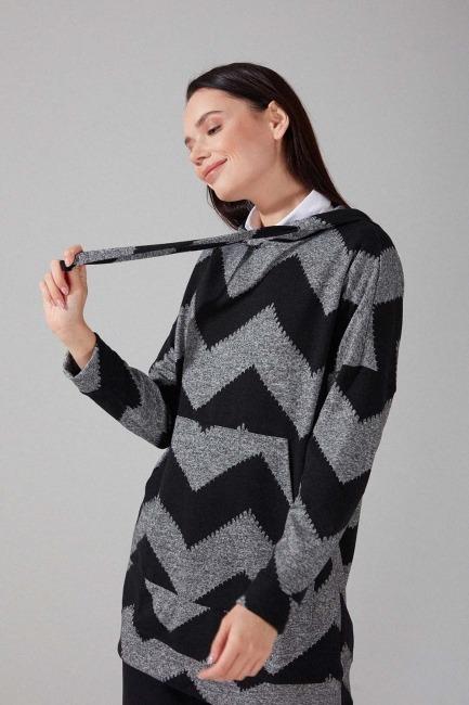Desenli Örme Sweatshirt (Siyah/Gri) - Thumbnail